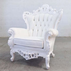 Where to rent LOUNGE, WHITE VICTORIAN LG ARM CHAIR in Camarillo CA